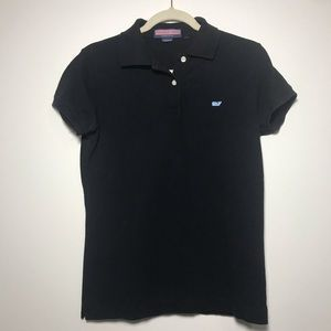 Vineyard Vines Black Short Sleeve Knit Polo